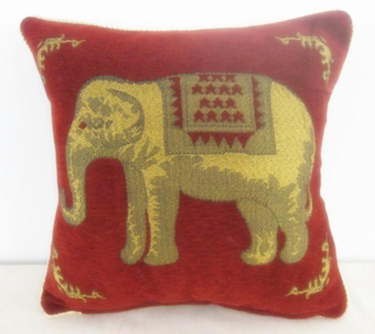 Grátis frete elephant fronha 4 pçs/lote linho com algodão capa de almofada vintage fronha capa de almofada chenille(China (Mainland))
