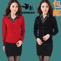 2013 women's shirt collar faux two piece outerwear cashmere cardigan women's short design long-sleeve sweater