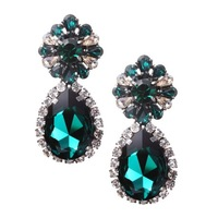 fashion shourouk style green glass crystal drop earrings for women