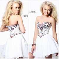 Blingbling White Sweetheart Beading Mini Chiffon Cocktail Dress HG423