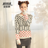2013 winter sweater female loose women's regular style pullover sweater dot low collar sweater