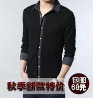 2013 autumn clothes male long-sleeve T-shirt men's male clothing basic male shirt plus size shirt collar