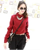 Free shipping Small fresh  fashion casual short design woolen outerwear pullover female wholesale