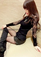 Free shipping autumn and winter beautiful lace crotch transparent top patchwork small sexy women's slim sweater wholesale