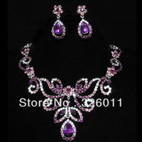 2013 New style Free shopping Gorgeous Wedding Jewelry sets High Quality Hot Selling Promotion Fashion Jewelry Set Purple Color
