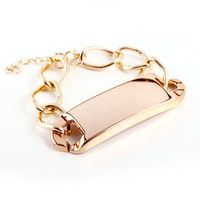 Free Shipping Cheap Fashion Women Gift Chain Gold Plated Chunky Bracelets Bangle For Women Men jewelry wholesale
