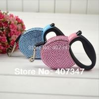 Wholesale12pcs/lot 3M Rhinestones Retractable Pet Puppy Dog Leash,Pink & Blue Mixed Free Shipping