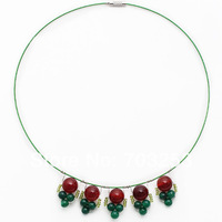 Christmas Gifts for You FreeShipping!! Green Round Beads Agate Necklace Red Wire Pendant Necklace Magnetic Clasp Merry Christmas