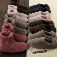 Thermal fleece plush indoor slippers boots wood floor at home package with slippers women shoes warm boots