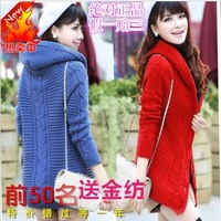 Autumn and winter thickening sweater plus velvet medium-long with a hood mm plus size clothing cardigan sweater outerwear