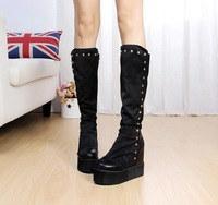 2013 autumn and winter boots elevator wedges high-heeled shoes medium-leg boots rivet women's shoes