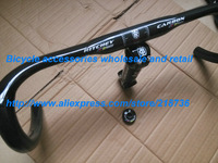 WCS Full Carbon fiber 3K Wove Road handlebar Carbon bicycle Road bar Handlebar 31.8*420mm+Wcs stem ,top cap ,free shipping