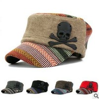 2013 Hot Autumn Winter Women Skull Pendant Hat For Unisex Striped Knitted Baseball Cap