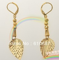 fast shipping gold plated earring eardrop 24 k gold leaf eardrop classical for women uiuygg788