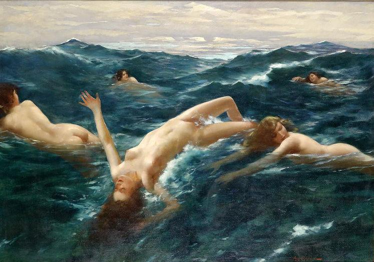 não encantador emoldurado pintura a óleo jovem natação& ondas do mar- sereias(China (Mainland))