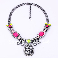 Free Shipping retro fluorescence necklace emerald Arinna Necklace with multicolor crystal Austria Element N1549