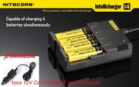 10pcs/lot Good USE NITECORE SYSMAX Version 2.0 Intellicharger I4 Battery Charger for 26650/22650/18650 Battery+12V Car charger