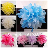 20PCS Wholesale Peony Flower Headband for baby plastic hair bands soft Chiffon flower hair accessories