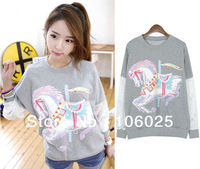 Fall 2013 New Long sleeve Lace Patchwork Merry-go-round print Pullover Hoodies Sweatshirts women Plus size-M,L,XL Free shipping