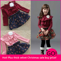 Kids girls dress new 2013 autumn and winter plus thick velvet dress girls dress children warm