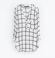2013 autumn fashion simple fashion V-neck three quarter sleeve medium-long plaid print female shirt