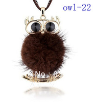 high-quality two colors Mink owl sweater chain necklace