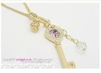 NK136 Wholesales New Long Paragraph Sweater Amethyst Love Golden Crown Key Chain Necklace Pendants