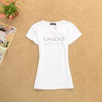 New 2013 Fashion Autumn -summer  t-shirts Tops For Women High Quality Slim Cotton Lycra Letter Short-sleeve T Shirt Women