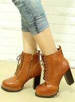 13 fashion high-heeled shoes square toe lacing martin boots platform shoes ankle boots thick heel boots ankle-length