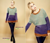 Hot!!! 2013 women's sweater autumn and winter pullover color block decoration pullover sweater women sale