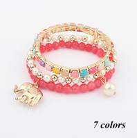 Free Shipping Hot Sale Multilayer Colorful Gold Filled Elephant Charm Beads Wrap Bracelets Pearl Bracelets Fashion Jewelry A2015