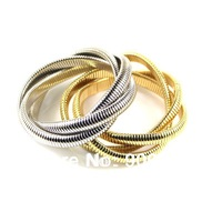 Free Shipping (6pcs/lot) Fashion Trendy Silver Tone or Gold Tone Snake Chain Multi-layer Elastic bracelet Bangle for Women!!