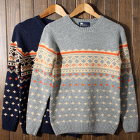 Fashion winter men's clothing lovers design petty bourgeoisie preppy style o-neck sweater male