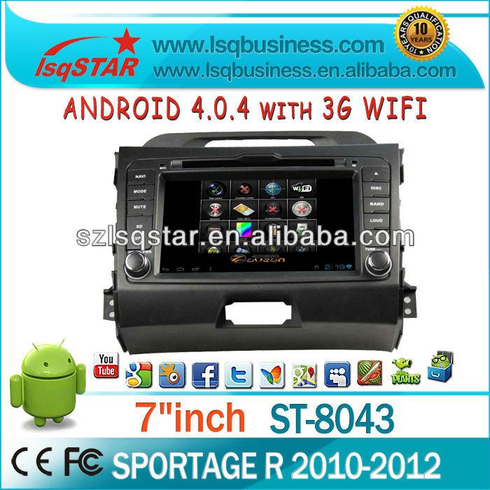 Android 4.0 car audio for KIA SPORTAGE R 2010-2012 With bluetooth/radio/ipod /3G WIFI /ATV/CAN BUS(China (Mainland))