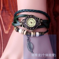 Retro fashion bracelet watch student leaves leaf hand-woven bracelet watch ladies bracelet watch