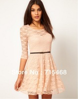 2013 women's dress, put on a large European and American candy-colored full lace dress with belt