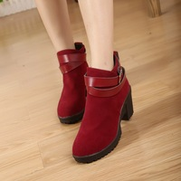 2013 british style female martin boots cross strap high-heeled boots cutout thick heel boots