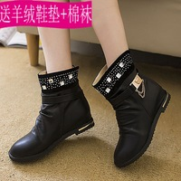 Boots female spring and autumn boots flat heel boots with a single elevator platform casual flat boots snow boots