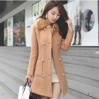 2013 autumn and winter women slim woolen outerwear cashmere woolen overcoat