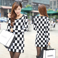 Medium-long basic sweater small black and white check elegant gentlewomen