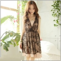 new summer elegant V-neck gauze lace one-piece dress cute plus size dresses for women free shipping