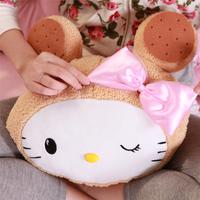 Cartoon double hot water bottle hq headform biscuits cat hand warmer bag