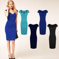 New arrival 2014 fashion dress women's spring summer brief short-sleeve slim hip pencil dress plus size elegant dress D090