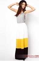 Hot Sale 2013 Fashion Casual Multi-Color High Waist Stripe Long Bohemian Skirts Women XS~XXL Free Shipping