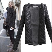 New 2013 Hot Selling Winter autumn -summer CHIC Women Patchwork Woolen Argyle Jacket Coat Outerwear nx1227