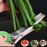 Stainless steel scissors /5 layer scissors/ kitchen scissors porphyrilic sushi shredded/ scallion cut /herb scissors