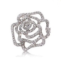 Girl Rhinestone Brooch White Gold Alloy Luxury Austrian Crystal Rose Brooches Pins Women Wedding Jewelry Costume Accessory