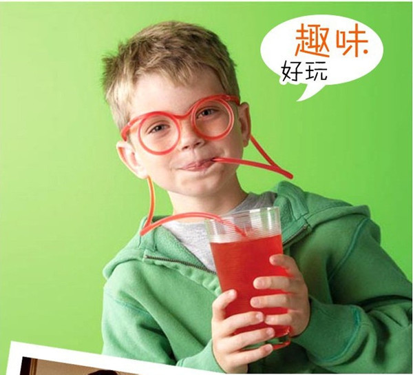 Drinking straws 5pcs/lot Novelty items Amazing Silly multi-colors Glasses Eyeglass Frames Free shipping(China (Mainland))