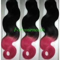 "Free shipping 12-28"" Fashion #1b/fucsia two tone ombre human hair weaves 3pcs 5A Brazilian virgin hair Body wave extension"