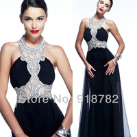 New Fashion 2014 Beautiful Halter Design Backless Formal Dress Long Sexy Luxury Black Crystal Evening Dress Party